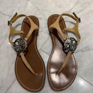 Tory Burch Krystal embellished ankle sandals.